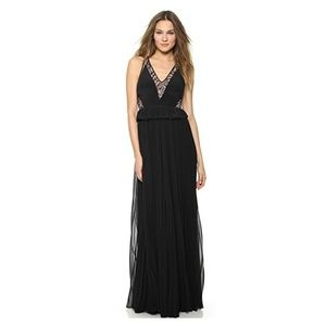 NWT Rebecca Taylor Sleeveless Lace Peplum Gown